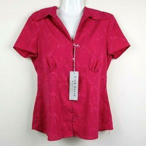 Fred David Women Blouse Short Sleeve Embroidered